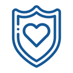 Image of safe and caring icon.